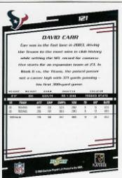 2004 Score #121 David Carr back image