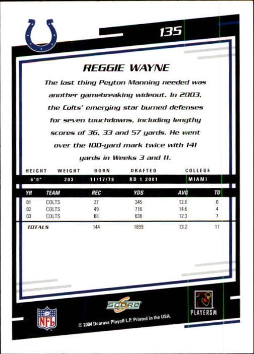 2004 Score #135 Reggie Wayne back image