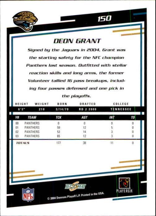 2004 Score #150 Deon Grant back image