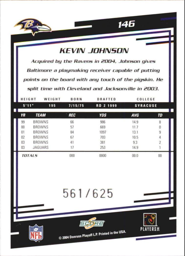 2004 Score Scorecard #146 Kevin Johnson back image