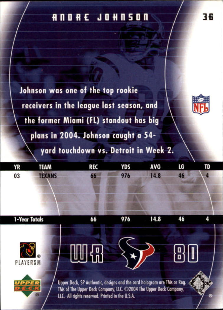 2004 SP Authentic #36 Andre Johnson back image
