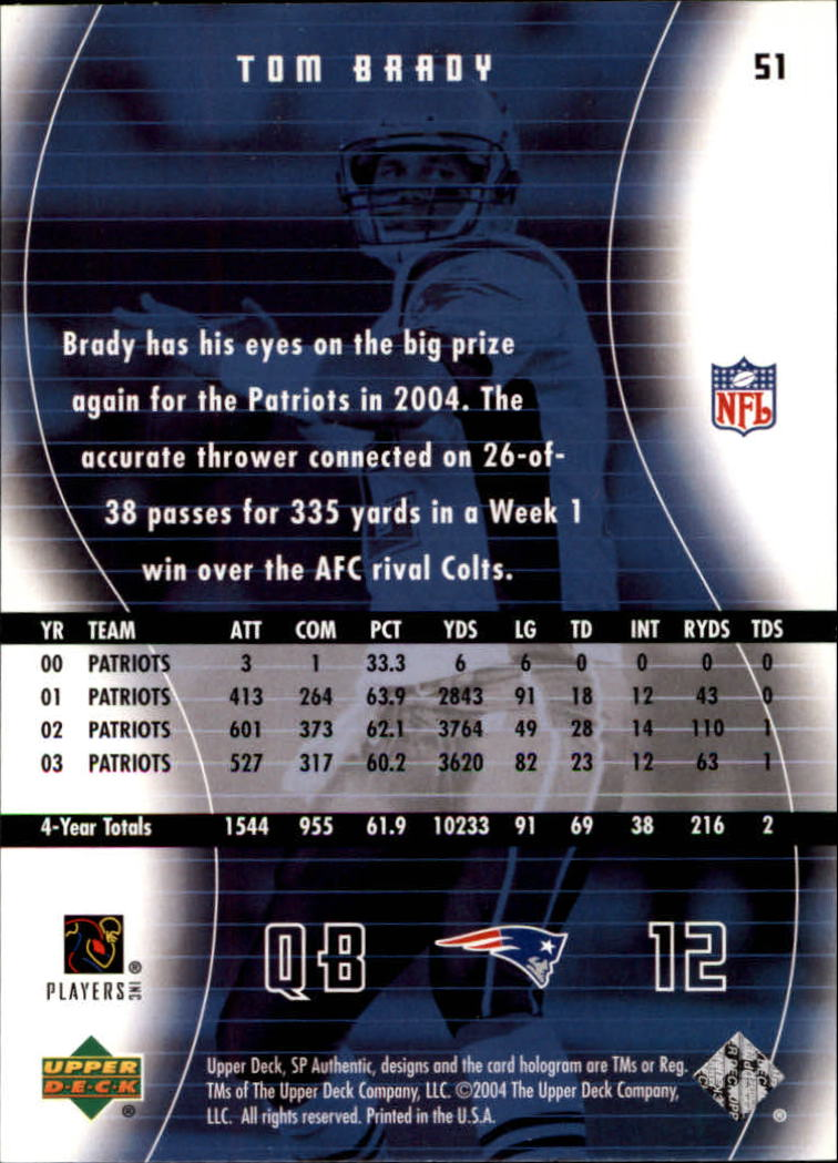 2004 SP Authentic #51 Tom Brady back image