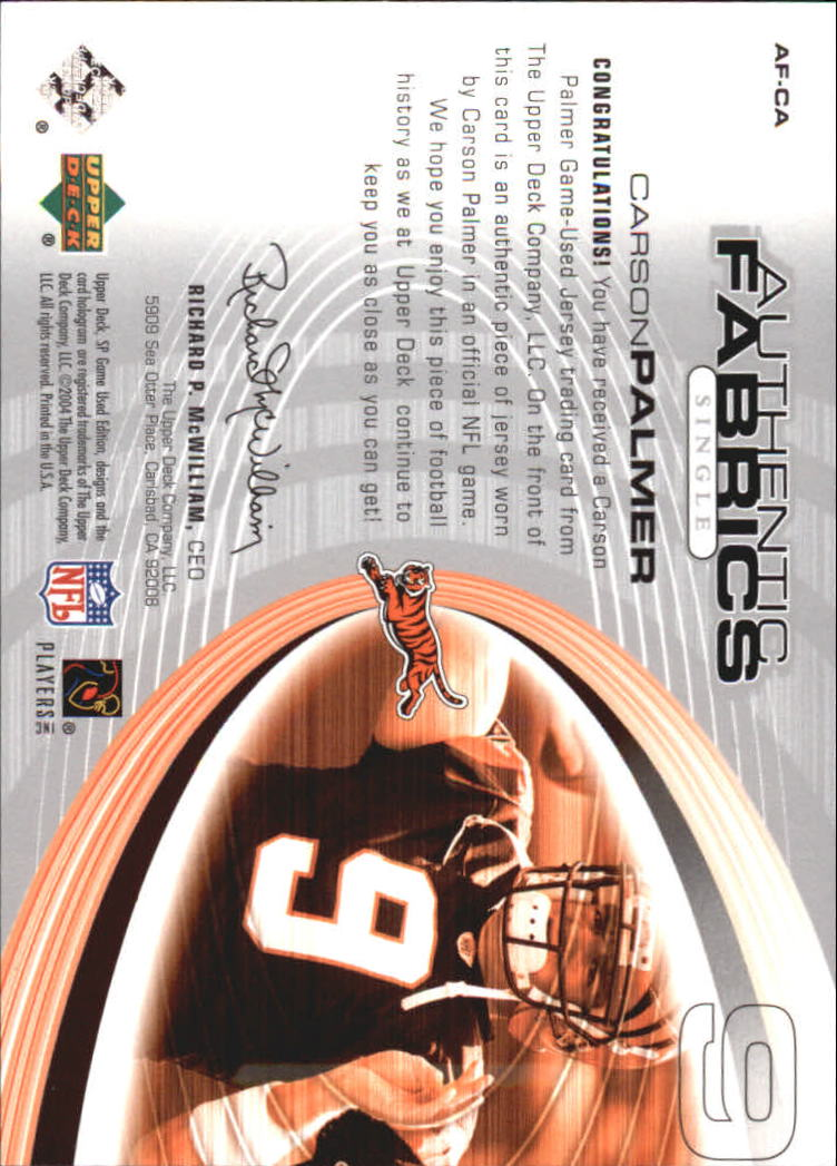 2004 SP Game Used Edition Authentic Fabric #AFCA Carson Palmer back image