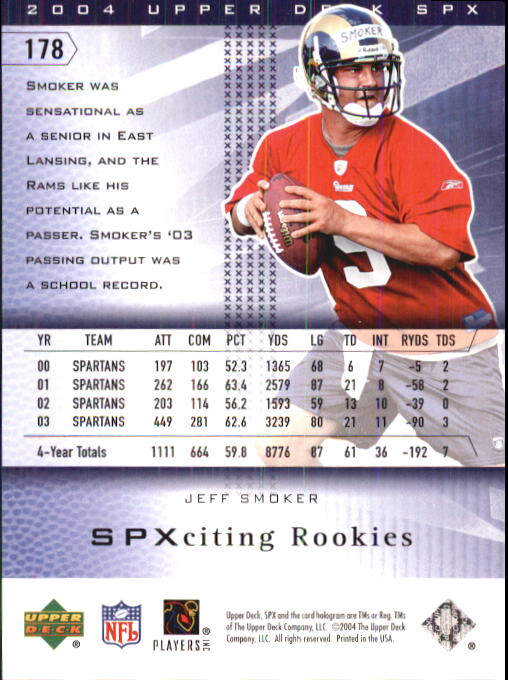 2004 SPx #178 Jeff Smoker RC back image