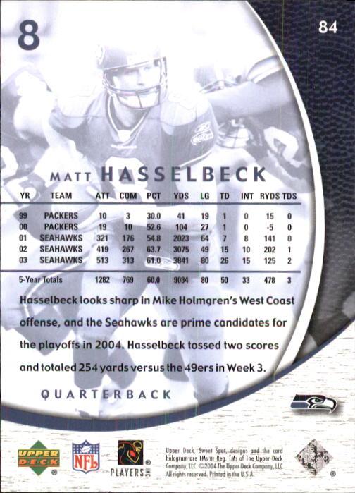 2004 Sweet Spot #84 Matt Hasselbeck back image