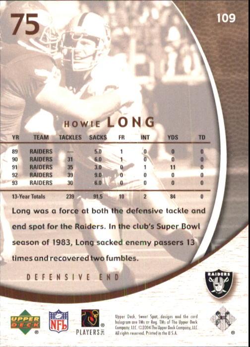 2004 Sweet Spot #109 Howie Long back image