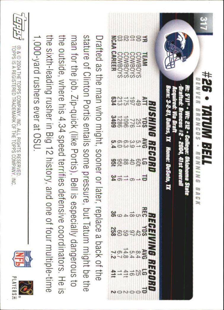 2004 Topps #317 Tatum Bell RC back image