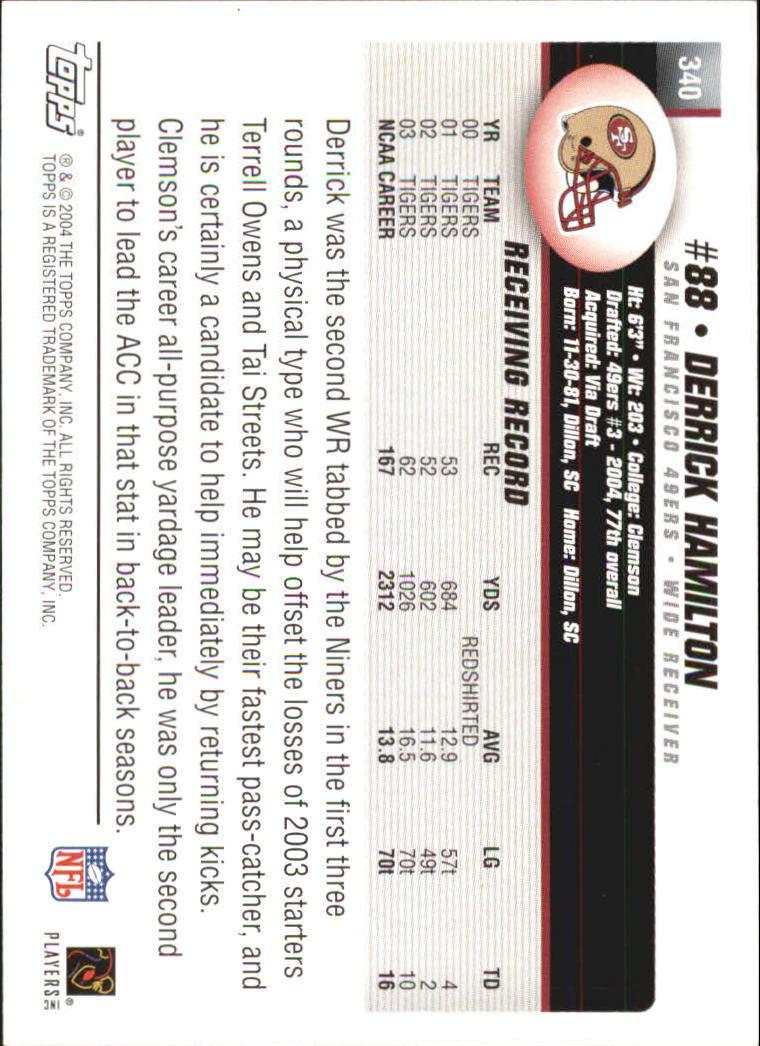 2004 Topps #340 Derrick Hamilton RC back image