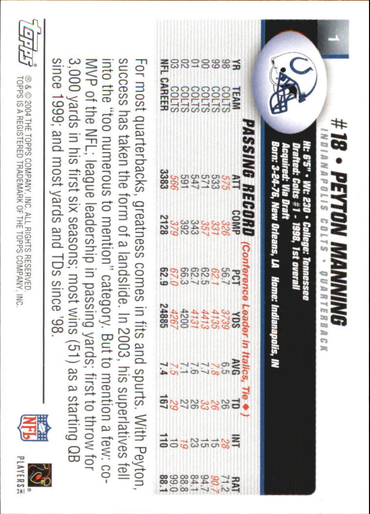2004 Topps First Edition #1 Peyton Manning back image