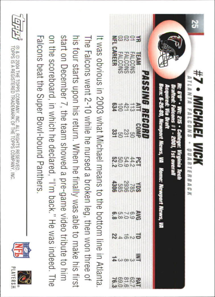 2004 Topps First Edition #25 Michael Vick back image
