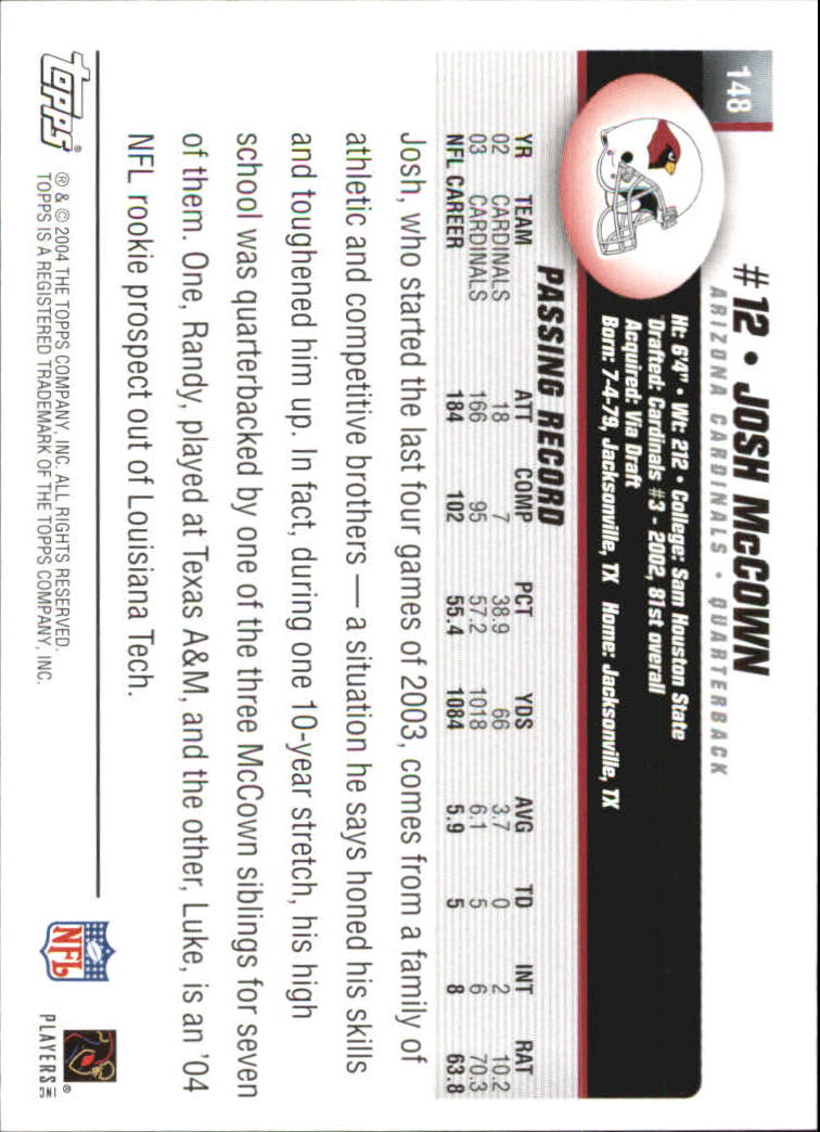 2004 Topps First Edition #148 Josh McCown back image