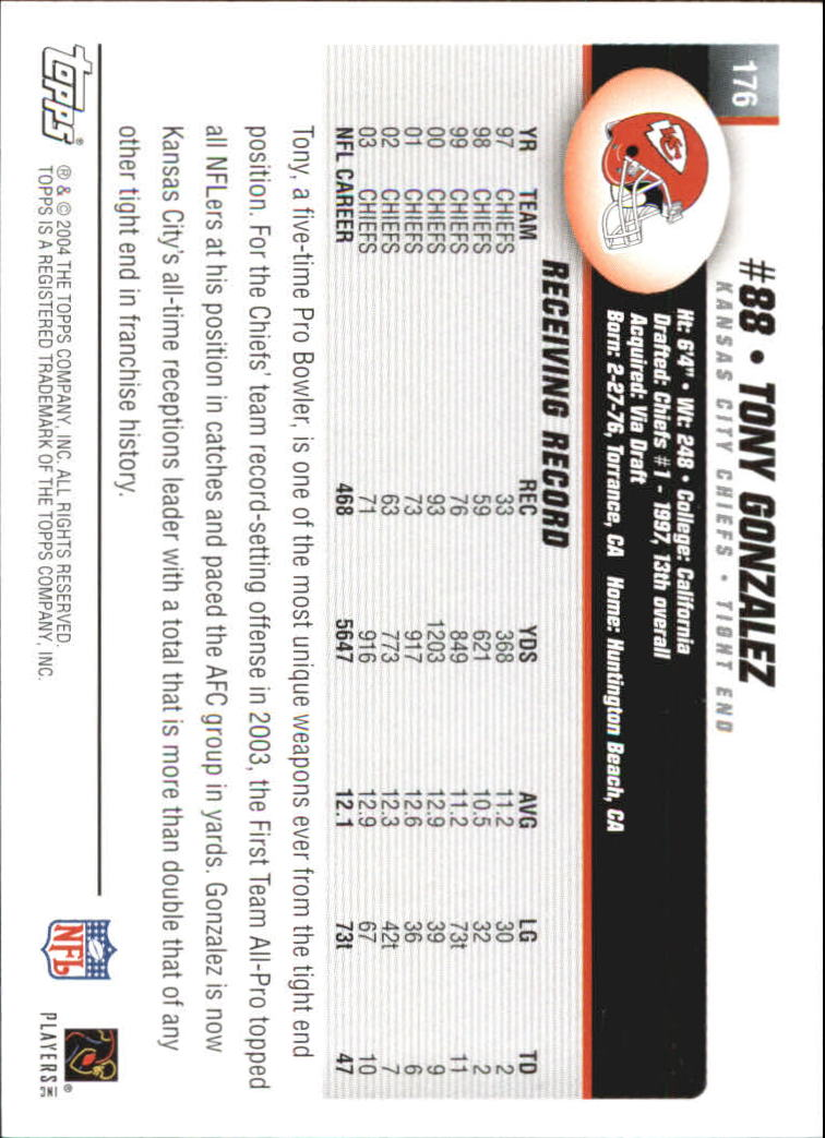 2004 Topps First Edition #176 Tony Gonzalez back image