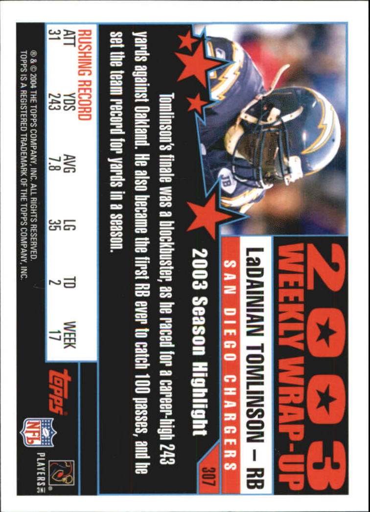 2004 Topps First Edition #307 LaDainian Tomlinson WW back image