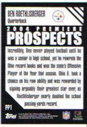 2004 Topps Premiere Prospects #PP1 Ben Roethlisberger back image
