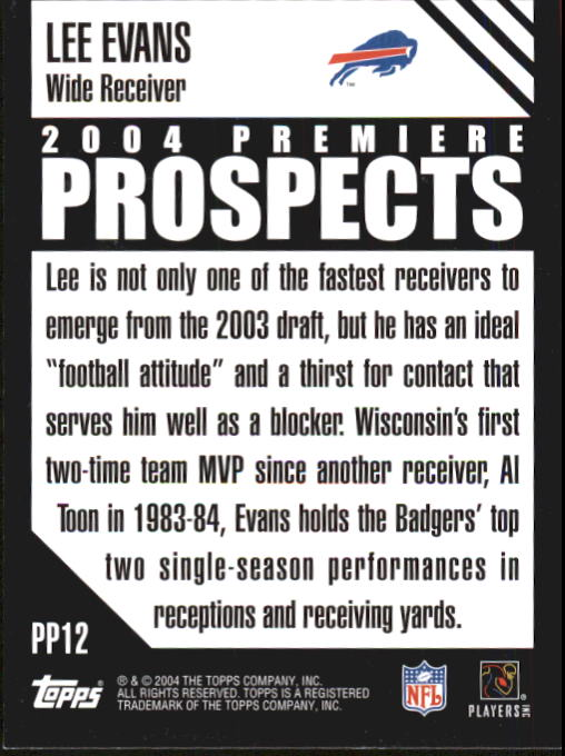 2004 Topps Premiere Prospects #PP12 Lee Evans back image