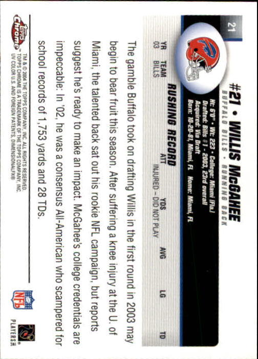 2004 Topps Chrome #21 Willis McGahee back image