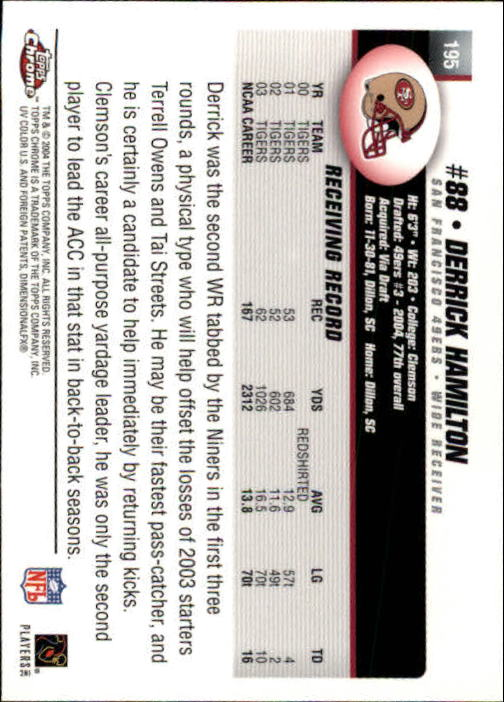2004 Topps Chrome #195 Derrick Hamilton RC back image