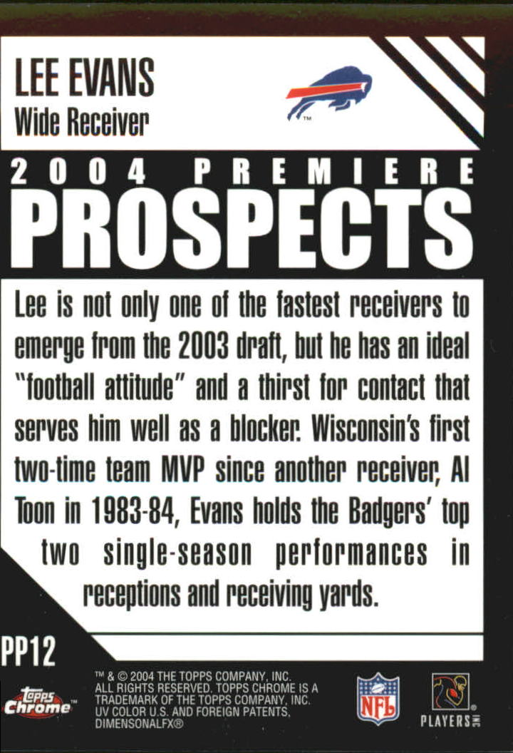 2004 Topps Chrome Premiere Prospects #PP12 Lee Evans back image