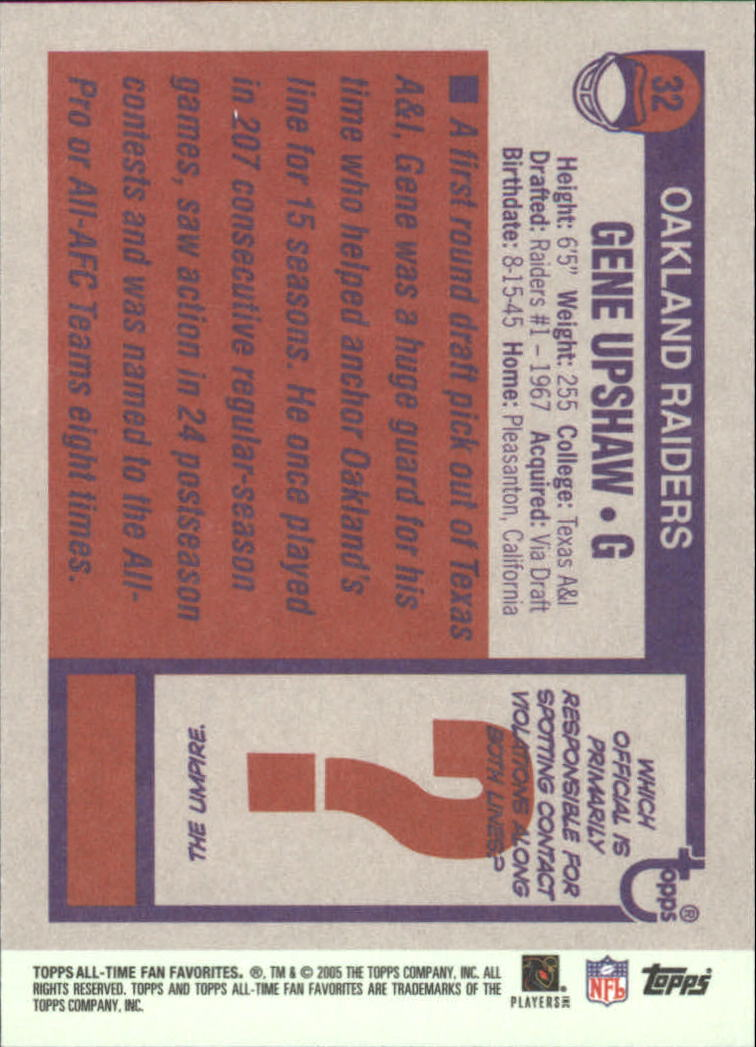 2004 Topps Fan Favorites #32 Gene Upshaw back image