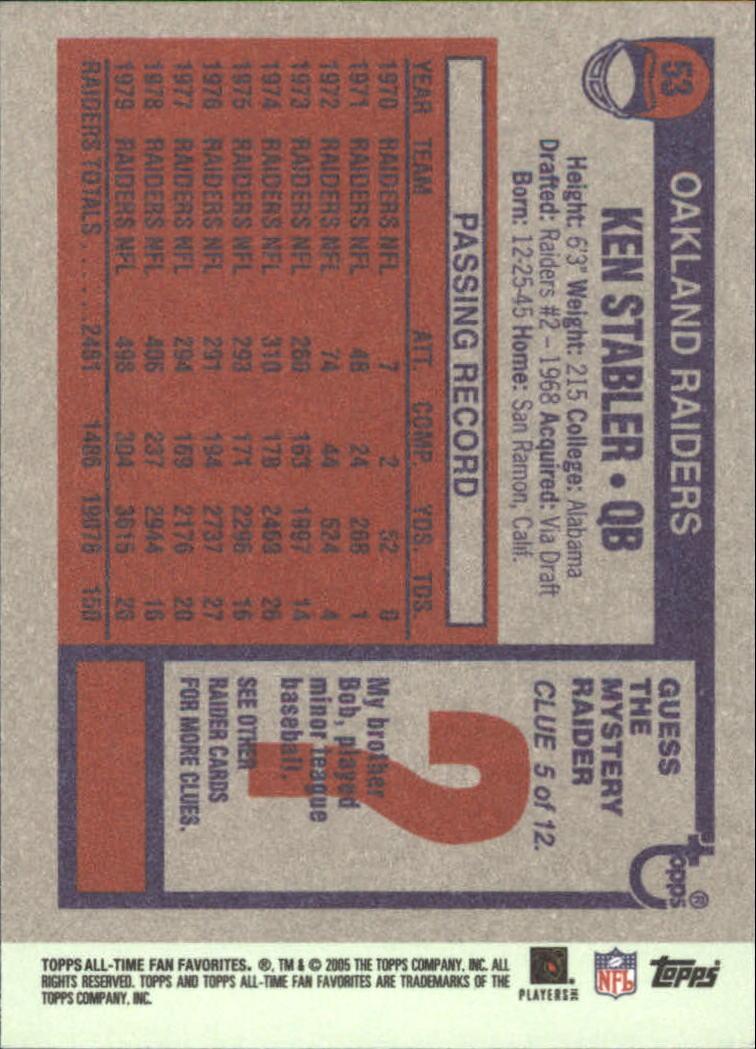 2004 Topps Fan Favorites #53 Ken Stabler back image