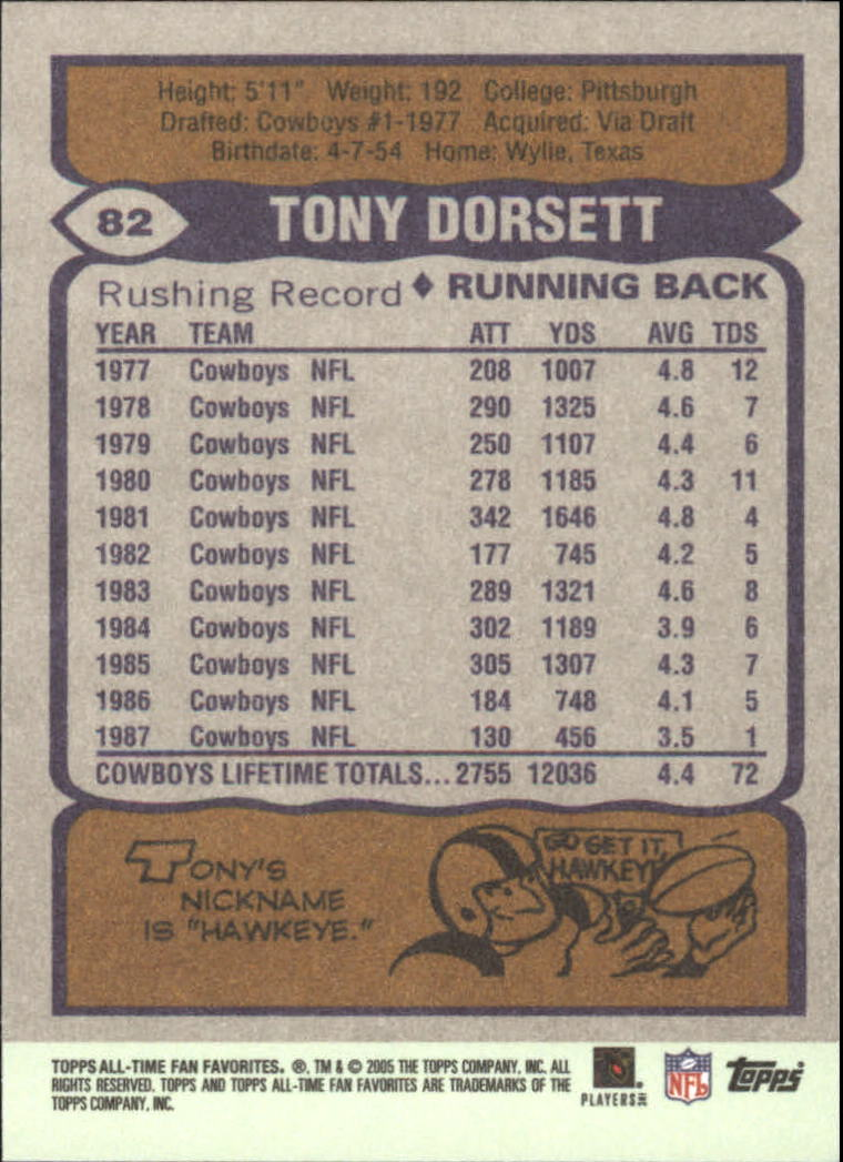 2004 Topps Fan Favorites #82 Tony Dorsett back image