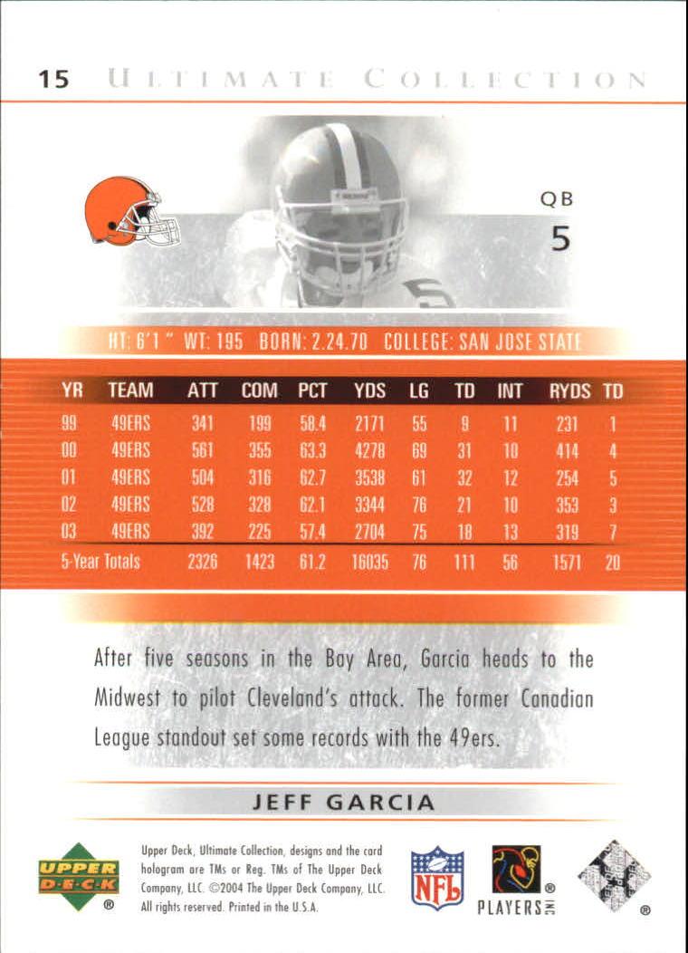 2004 Ultimate Collection #15 Jeff Garcia back image