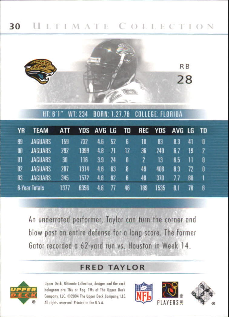 2004 Ultimate Collection #30 Fred Taylor back image