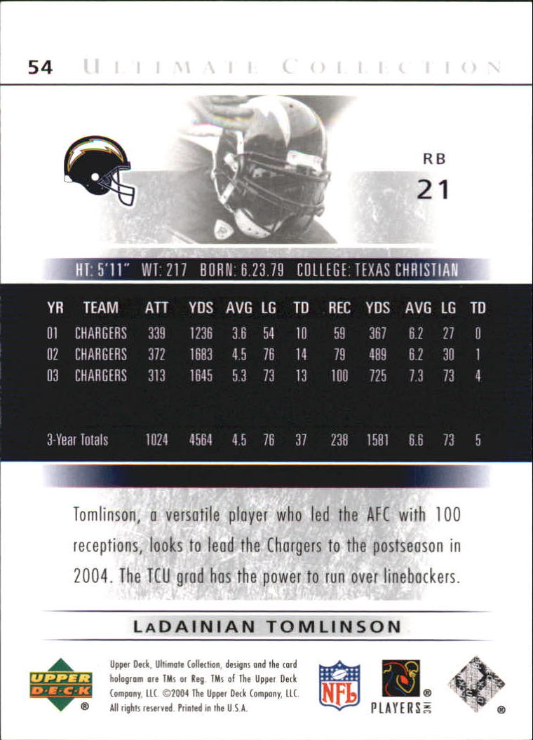 2004 Ultimate Collection #54 LaDainian Tomlinson back image