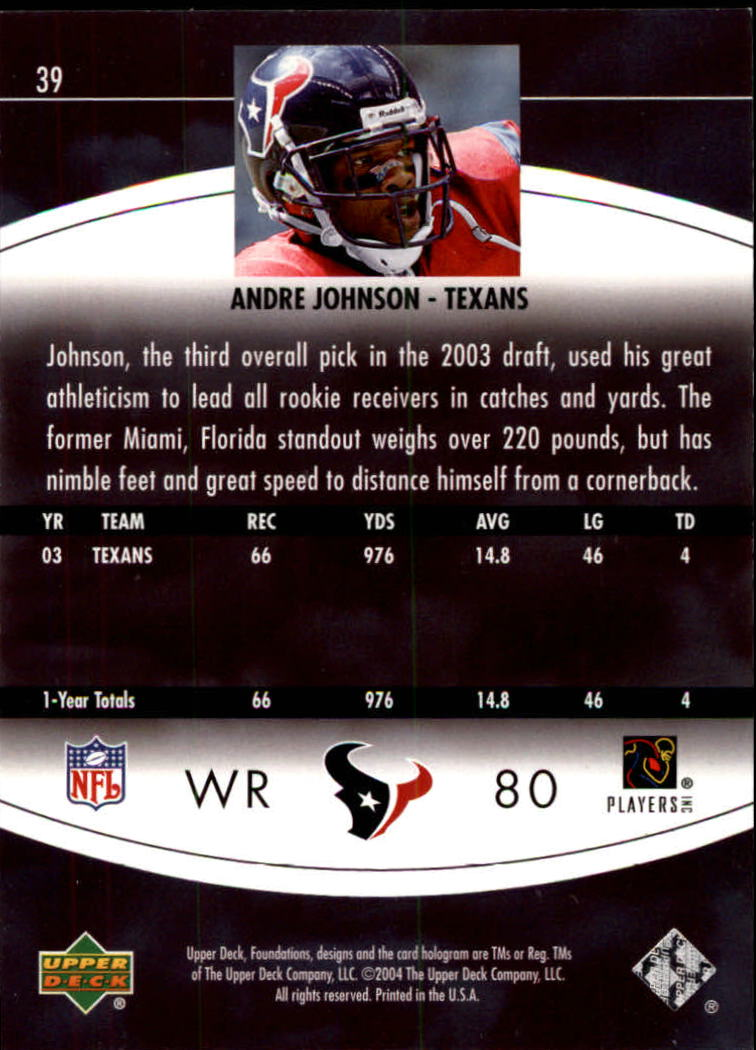 2004 Upper Deck Foundations #39 Andre Johnson back image