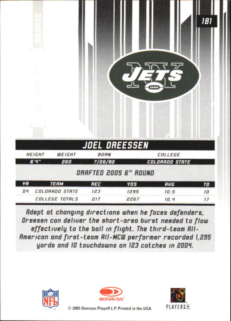 2005 Leaf Rookies and Stars Longevity Ruby #181 Joel Dreessen back image