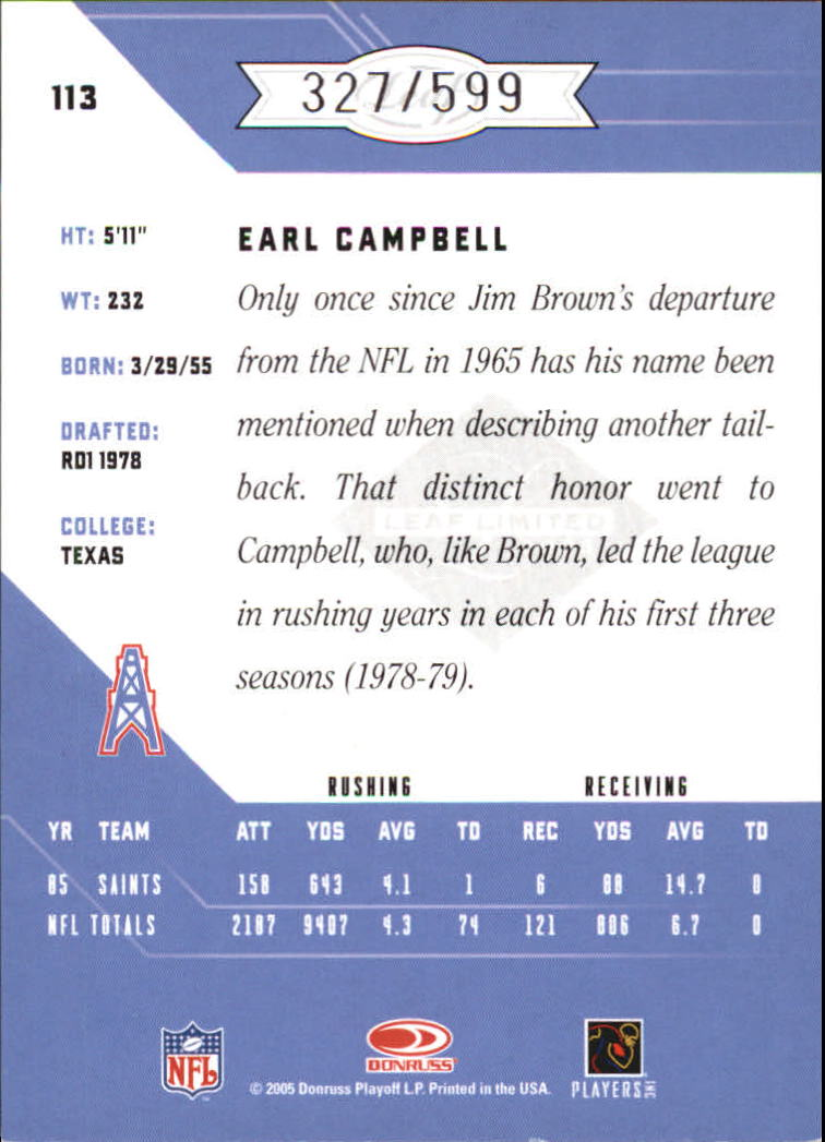 2005 Leaf Limited #113 Earl Campbell back image