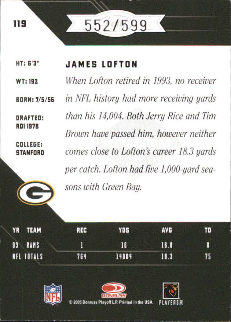 2005 Leaf Limited #119 James Lofton back image