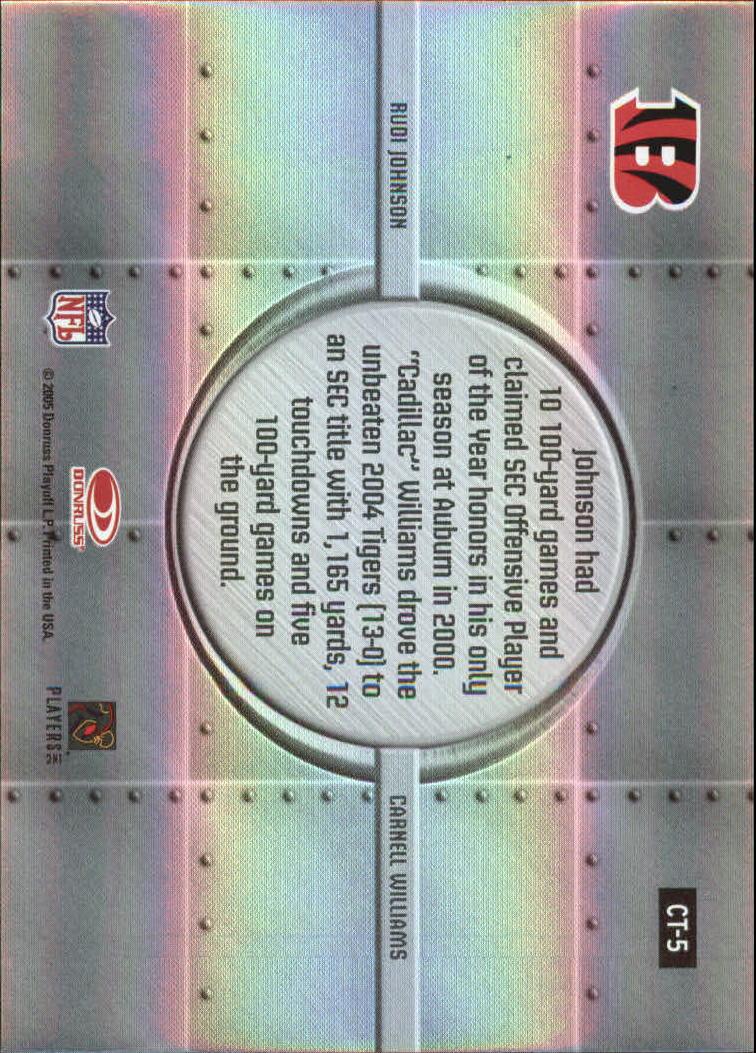2005 Donruss Elite College Ties #CT5 Rudi Johnson/Cadillac Williams back image