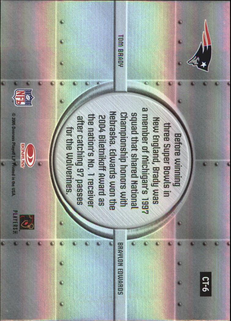 2005 Donruss Elite College Ties #CT6 Tom Brady/Braylon Edwards back image