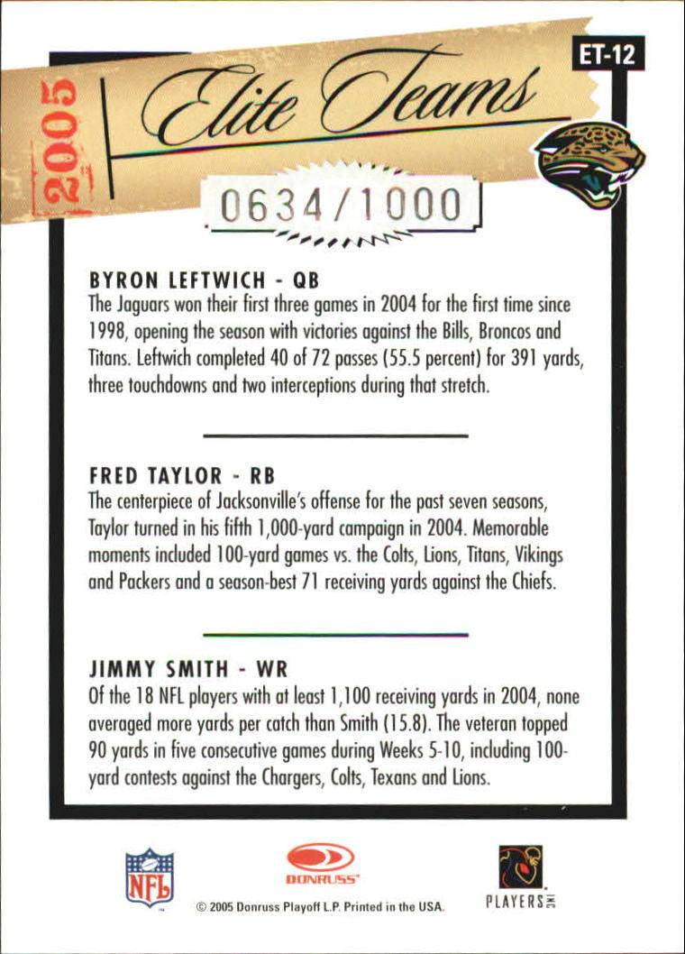 2005 Donruss Elite Elite Teams Silver #ET12 Byron Leftwich/Fred Taylor/Jimmy Smith back image