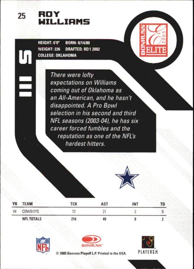 2005 Donruss Elite #25 Roy Williams S back image