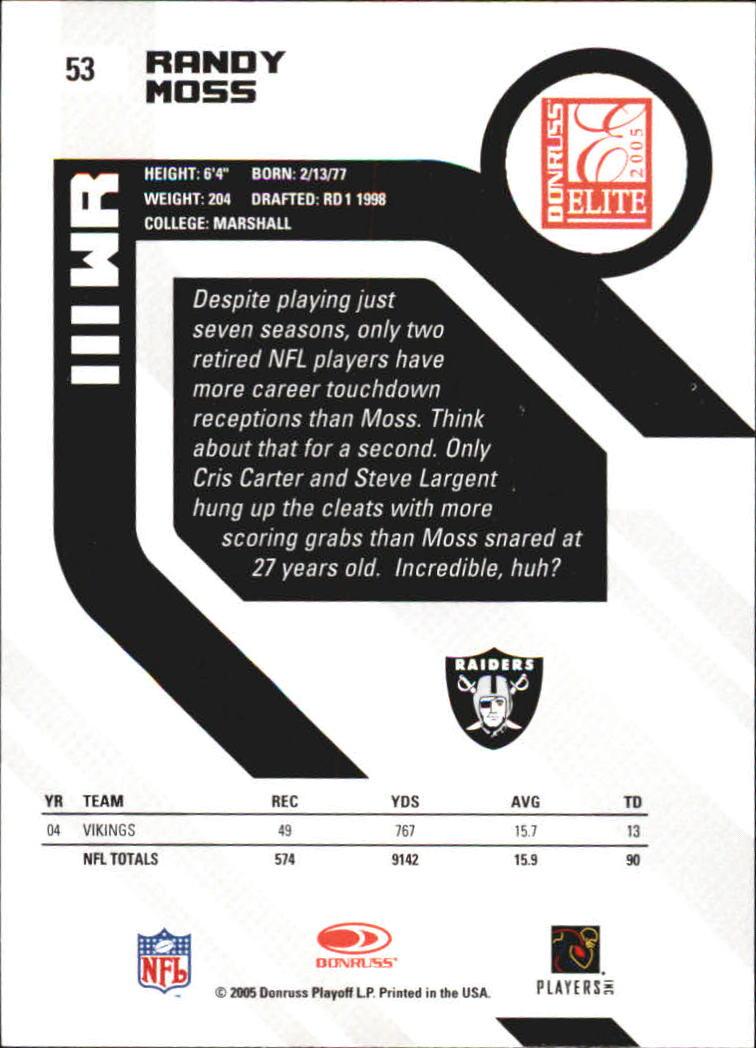 2005 Donruss Elite #53 Randy Moss back image