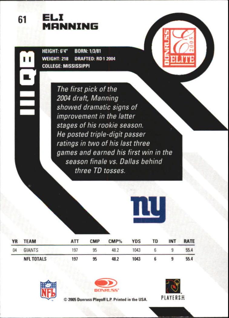 2005 Donruss Elite #61 Eli Manning back image