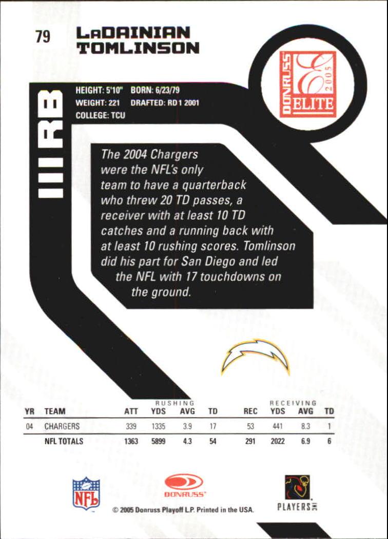 2005 Donruss Elite #79 LaDainian Tomlinson back image