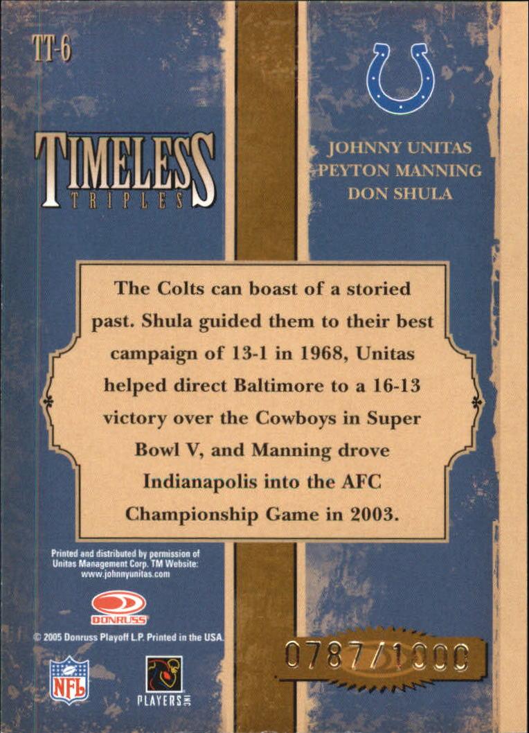 2005 Donruss Classics Timeless Triples Bronze #6 Johnny Unitas/Peyton Manning/Don Shula back image