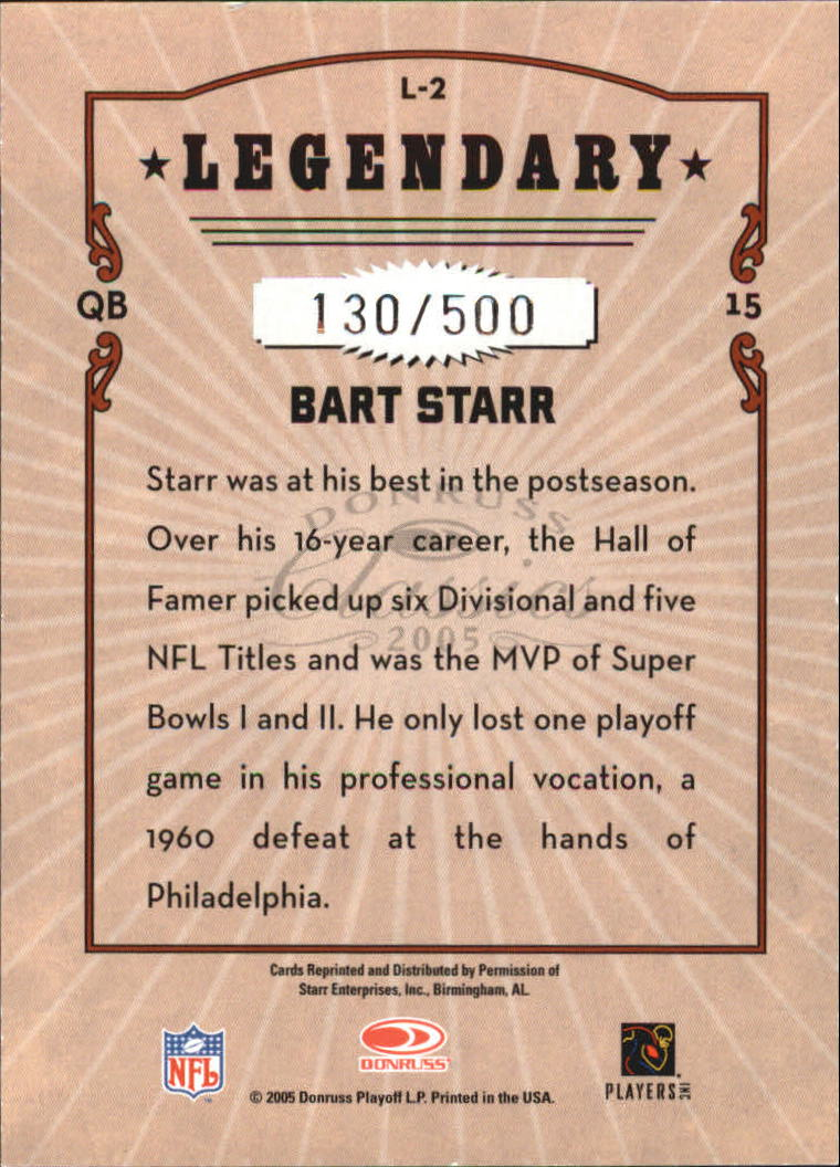 2005 Donruss Classics Legendary Players Silver #2 Bart Starr back image