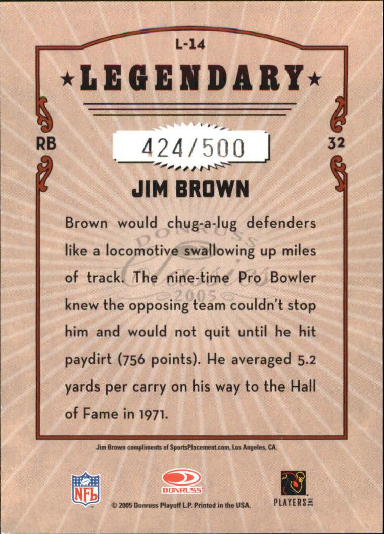 2005 Donruss Classics Legendary Players Silver #14 Jim Brown back image