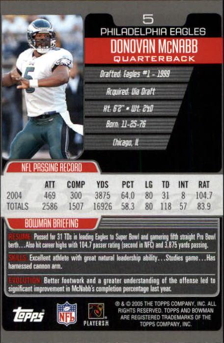 2005 Bowman #5 Donovan McNabb back image