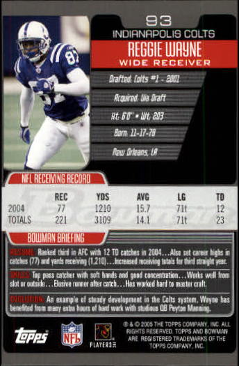 2005 Bowman #93 Reggie Wayne back image