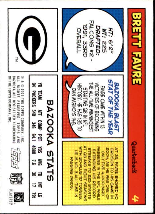 2005 Bazooka #4 Brett Favre back image