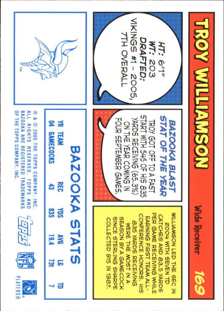 2005 Bazooka Blue #169 Troy Williamson back image