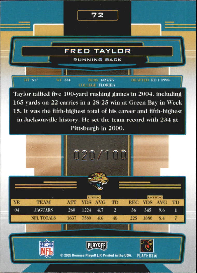 2005 Absolute Memorabilia Spectrum Silver #72 Fred Taylor back image