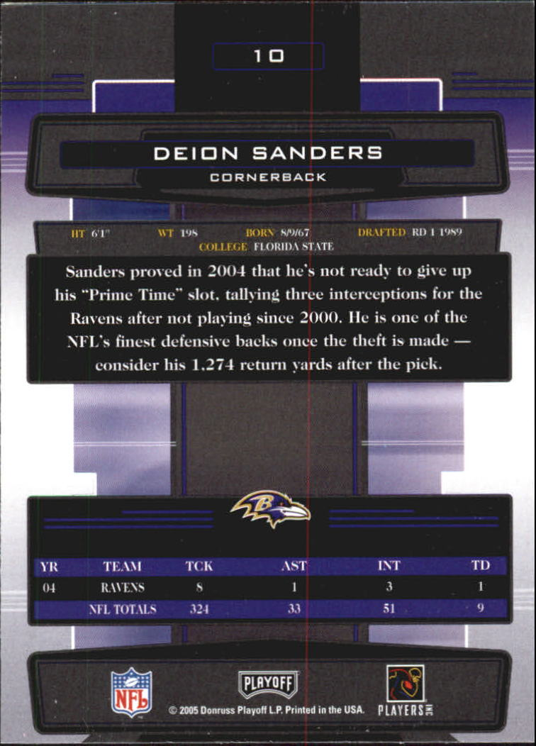 2005 Absolute Memorabilia #10 Deion Sanders back image