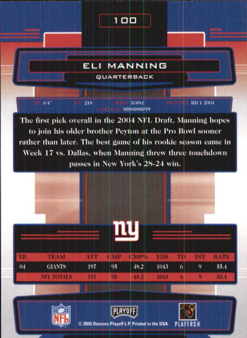 2005 Absolute Memorabilia Retail #100 Eli Manning back image
