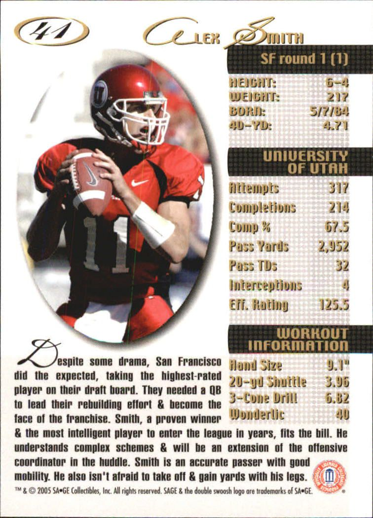 2005 SAGE #41 Alex Smith QB back image